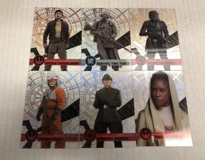 STAR WARS HIGH TEK 2017 PATTERN 1 B 6 CARD LOT 59 70 73 87 90 110 TOPPS
