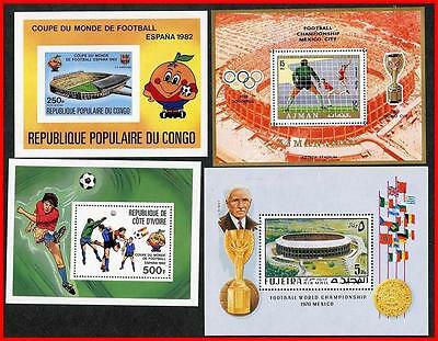 FOOTBALL-SOCCER CUP COLLECTION x4 S/S MNH A19