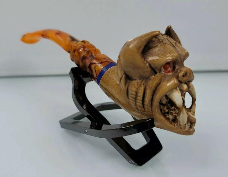 """Hand Carved Meerschaum Pipe of Rabid Beast W/ Case 5.5"""" long 14.2mmm Bowl"""