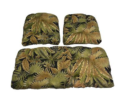 Wicker Cushion 3 Piece Set Made with Tommy Bahama Black Tropical Fabric Outdoor