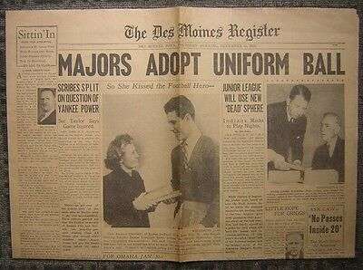 12 15 1938 The Des Moines Register Sports Section    Majors Adopt Uniform Ball