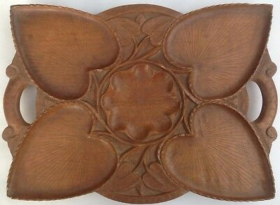 Antique Mahogany Hardwood Hand Carved Water Lily & Leaves Oyster / Scallops Tray