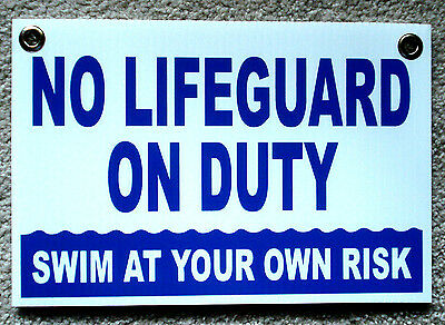 No Lifeguard On Duty Swim At Your Own Risk 8 X12 Coroplast Sign 25 Off 3 B