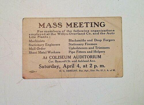 1919 Union Meeting Willys-Overland Auto Lite Strike Handbill Toledo Ohio Ebright