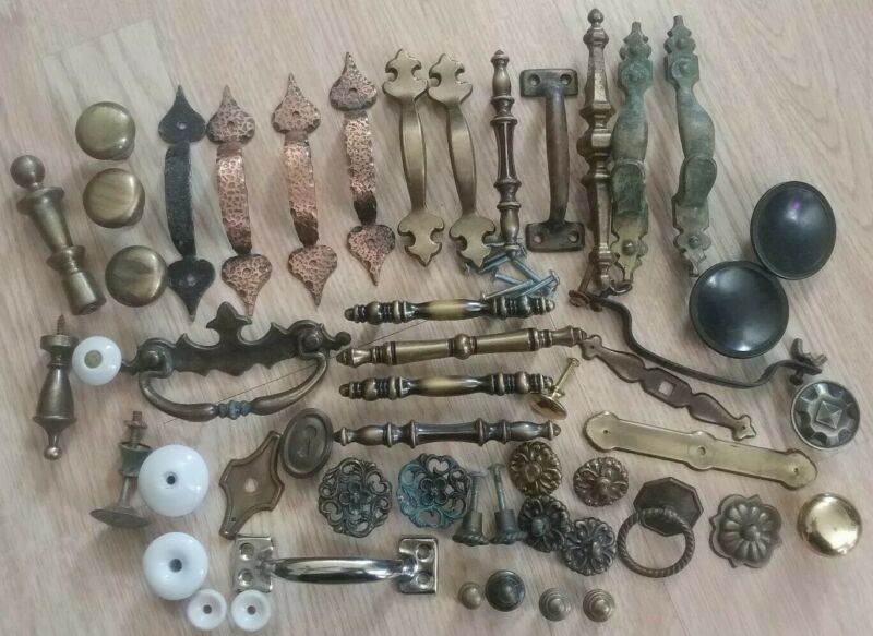 Mixed Lot of 51 Vintage Drawer Pulls Knobs Hardware Metal Brass Antique
