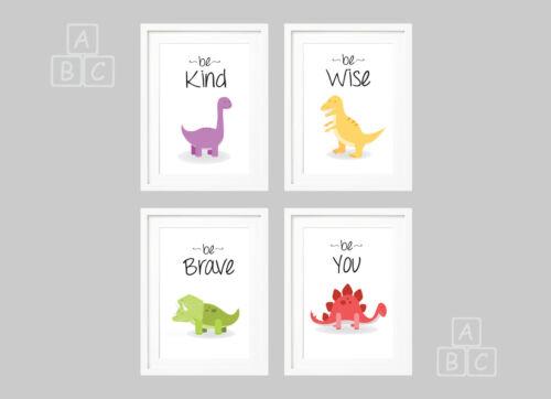 Nursery Wall Art set of 4 Dinosaur Prints Various Sizes T-Rex Newborn Baby Gift