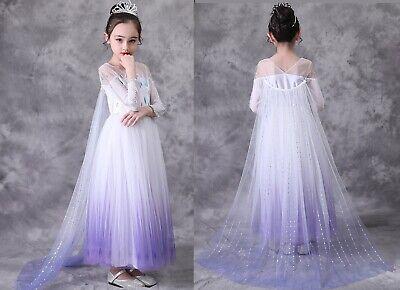 Snow Girl Halloween Costume (Childrens Kids Girls 2020 Snow Ice Queen Elsa New Halloween Costume Dress)