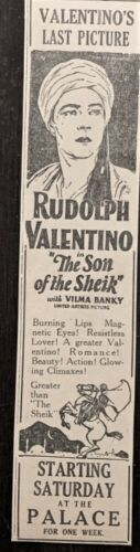 Original 1926 Rudolph Valentino movie ad - His final film