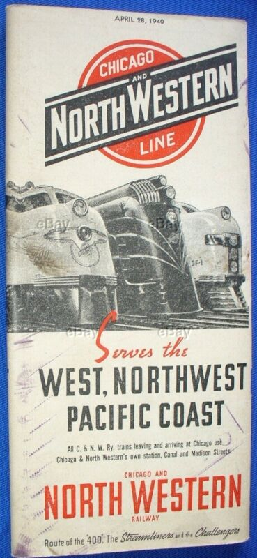 OLD RAILROAD TIME TABLE CHICAGO AND NORTHWESTERN LINE NORTH WESTERN APRIL 1940