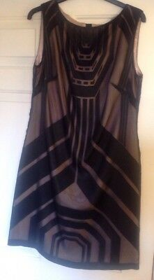 Autograph M&S Art Deco Style Black Shift Dress Size 10 BNWT