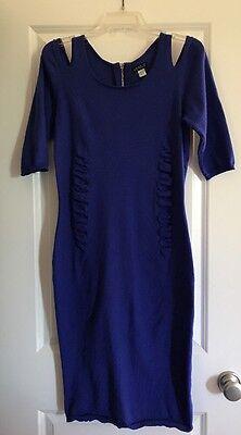 Venus Womens Large Blue  Calf Length Body Con Dress Full Zip Back Open Shoulder