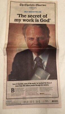 Billy Graham Death Charlotte Observer Newspaper 2 22 18 February 22 2018