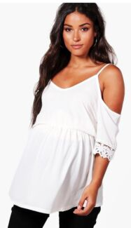 Maternity - Brand new white open shoulder crochet lace top