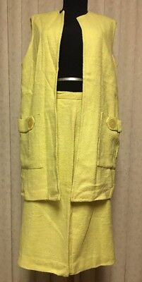 vintage 50s 60s yellow skirt suit