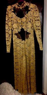 Vintage Gold lace Hand Appliqué Rhinestone Jumpsuit One Of kind Paris