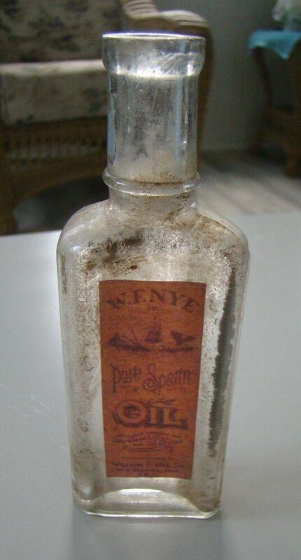 Vintage W.F. Nye Pure Sperm Oil- New Bedford, Mass. Reproduction Medicine Bottle