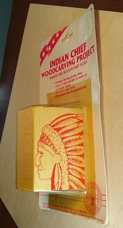 Vintage Indian Chief Boy Scouts of America Woodcarving Project Neck Scarf Slide