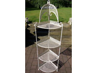 Tall Shabby Vintage Chic style corner metal shelving unit display kitchen conservatory