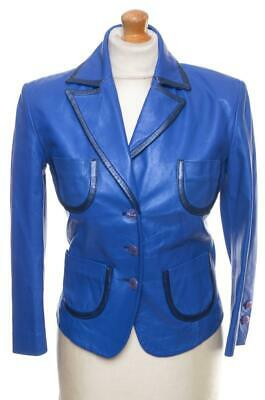 VTG GIANNI VERSACE LEATHER JACKET BLUE UK 10 US 8 EU 36 IT 42 S MINT PRISTINE