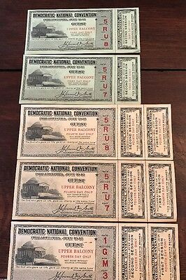 Vintage 1948 DEMOCRATIC National Convention Set of 5 Tickets (3 Unused) TRUMAN