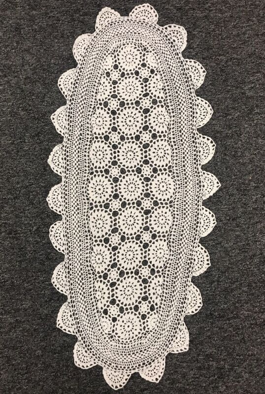 """100% Cotton White Color Handmade Crochet Lace 15x33"""" Table Runner Placemat Oval"""