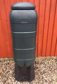 100L Slimline Garden Water Butt Rain Tank Container Inc Stand