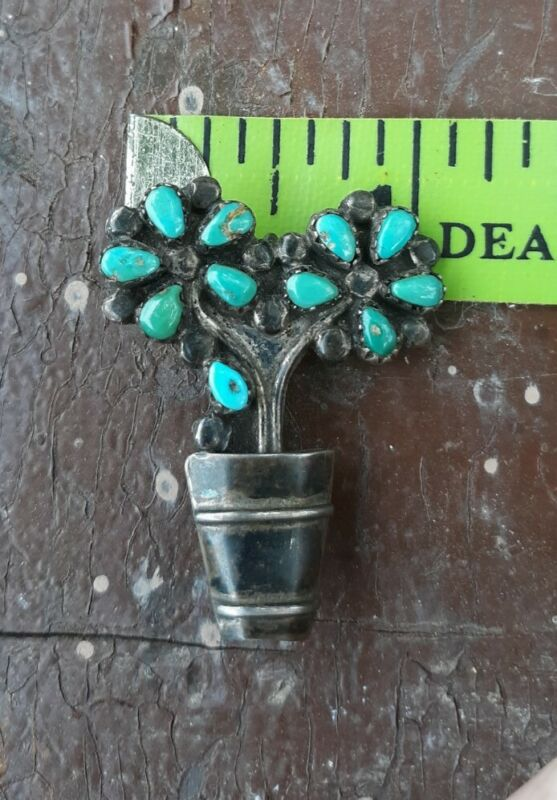 Vtg Sterling Silver Turquoise Petals Native American Brooch Pendant Flowers Pot