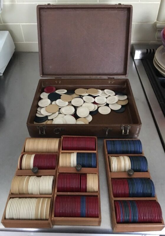 Travel Poker Chip Case 3 Trays & Extra Chips Vintage Antique