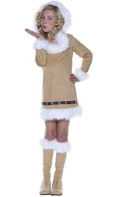 Underwraps Eskimo Kisses Girl's Costume  Halloween Fur Dress & boots Medium 6-8  - Halloween Eskimo Boots