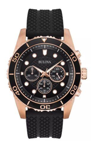 Bulova Men's Quartz Chronograph Rose Gold Case Black Band 44