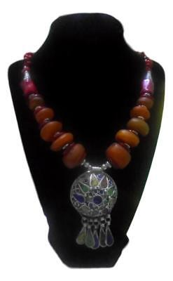 Magnificent Moroccan Berber Amber Beaded Enameled Necklace.