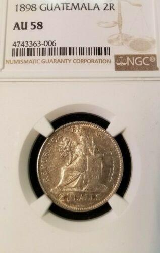 1898 GUATEMALA SILVER 2 REALES NGC AU 58 BEAUTIFUL HIGH GRADE COIN