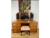 G Plan Teak Double Pedestal Dressing Table with Triple Mirror and Matching Stool