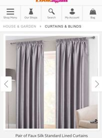 Silver faux silk lined curtains