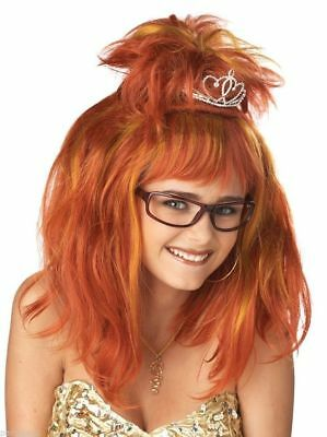 Prom Queen Nightmare Wig w Mini Tiara Nerd Geek Dork 70s 80s Hillbilly Princess