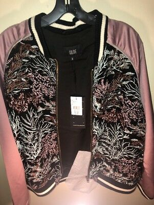 New GOLDIE Embroidered Lace Bomber Jacket with Pink Satin Arms Size M  - Pink Satin Jacket
