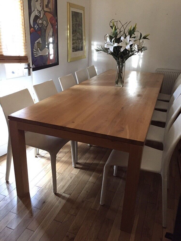 Stunning 3 Meter Long SOLID OAK Contemporary Dining Table With 10 Chairs