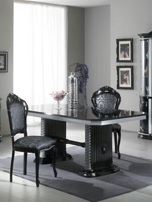 VERSACE DESIGN BLACK & SILVER ITALIAN HIGH GLOSS DINING TABLE & 6 FABRIC CHAIRS