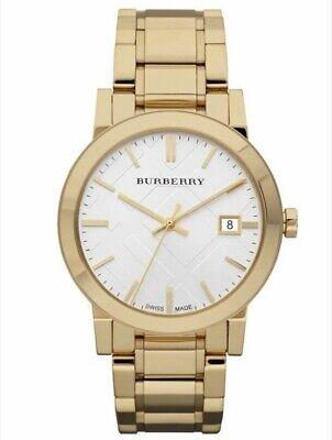 Nuevo Burberry BU9003 Unisex Oro Cuadros Grabado Reloj - 2 Años Garantia
