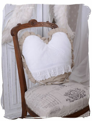 Heart Pillow Shabby Chic Cushion Lace Embroidery Pillows Heart-Shaped Cotton Art
