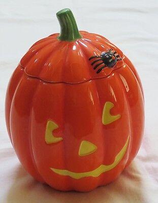 Hallmark Halloween Pottery Jack-o-Lantern & Spider Design Candy/Cookie Jar-New](Hallmark Halloween Cookie Jars)