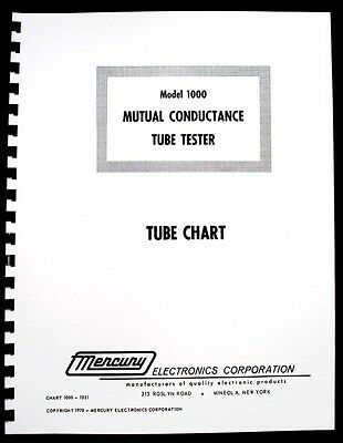 Mercury 1000 Tube Tester Tube Chart Updated 1971 Version