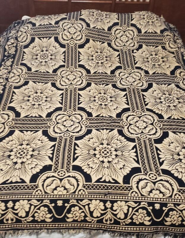 Antique 1845 Woven Coverlet~ Floral and Star-like Shaped Design