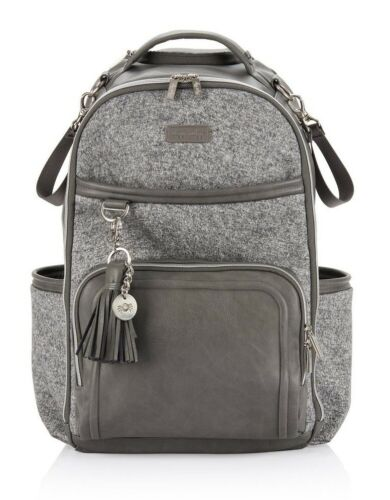 Itzy Ritzy Boss Plus Large Baby Diaper Bag Backpack w/ Changing Pad Grayson NEW