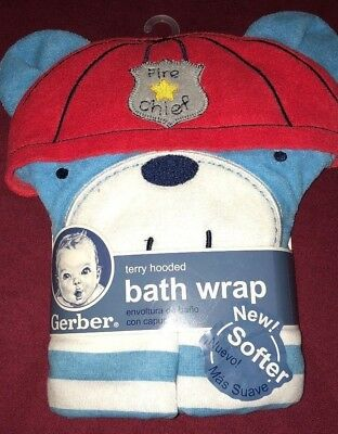 GERBER BABY TERRY HOODED BATH WRAP FIRE CHIEF