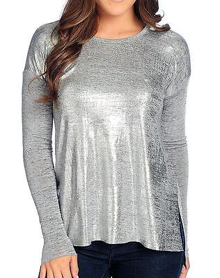 (NEW - Kate & Mallory® Stretch Knit Long Sleeved Drop Shoulder Metallic Front Top)