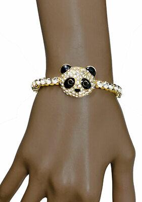 Panda Cara Esmalte Cristales Transparentes Animal-Themed Flexible Imán Pulsera