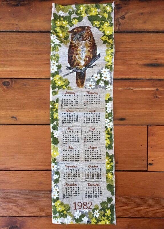 Vtg 1982 Long Slender Beige Linen Monthly Tea Towel Floral Owl Calendar Decor
