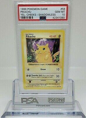 1999 Base Set Unlimited Pikachu 58//102 Good Condition Pokemon Yellow Cheeks WOTC