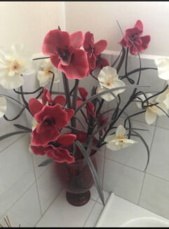 Vase with Fake Flowers for sale